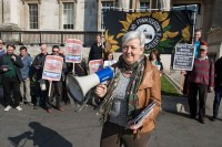 Protests outside National Gallery, via Art Newspaper