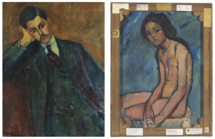 Amedeo Modigliani, Jean Alexandre (recto) Nu assis (verso) (1909), via Christie's