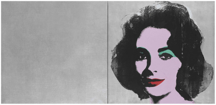 Andy Warhol, Silver Liz (Diptych) (1963-1965), via Art Observed