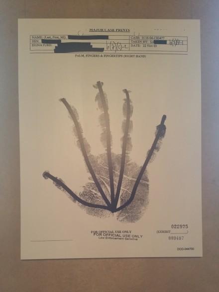 Jenny Holzer, PALM, FINGERS & FINGERTIPS 000406 (2007), via Art Observed