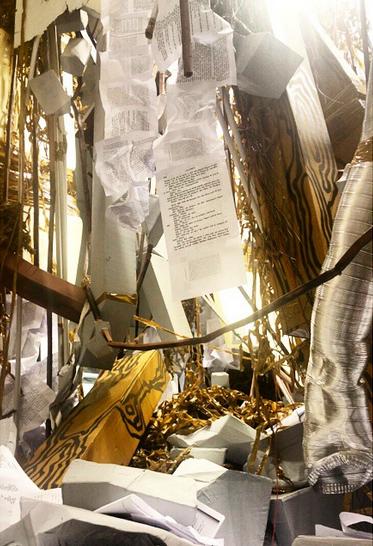 Thomas Hirschhorn, Ceiling Off (2015), via Art Observed