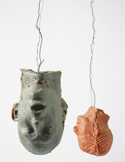 Bruce Nauman, Hanging Heads #1 (Blue Andrew, Mouth Open Red Julie with Cap) (1989), via Phillips