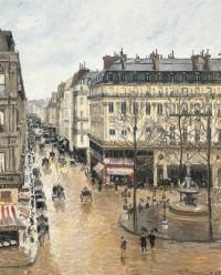 Camille Pissarro, Rue Saint-Honoré, Après-midi, Effet de Pluie, via NYT