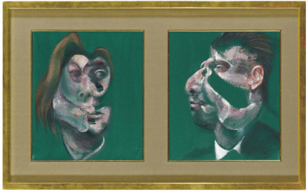 Francis Bacon, Study for Head of Isabel Rawsthorne and George Dyer (1967), via Christie's