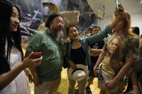 Ai Weiwei at a recent opening, via Art Newspaper