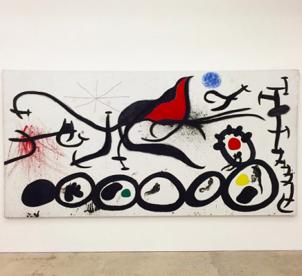 Joan Miró, The Sorrowful March Guided by the Flamboyant Bird of the desert (1968), via Art Observed