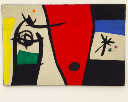 Joan Miró, Woman with the Voice of a Nightingale in the Night (1971), via Art Observed