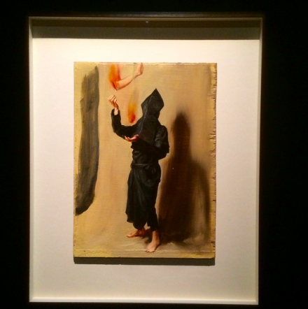 Michael Borremans, Black Mould / Juggling with Fiery Limbs II (2015), via Art Observed