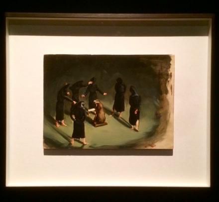 Michael Borremans, Black Mould : The Badger's Song (2015), via Art Observed