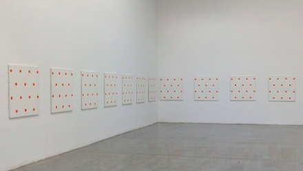 Niele Toroni at Swiss Institute (Installation View), via Art Observed