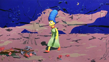 "When I survey the glorious cross, Fabelar's 3D Marge Simpson with ""Jeff and some Aliens"" background"