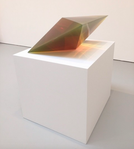 De Wain Valentine, Double Pyramid Fluoresscent Green (1970), via Art Observed