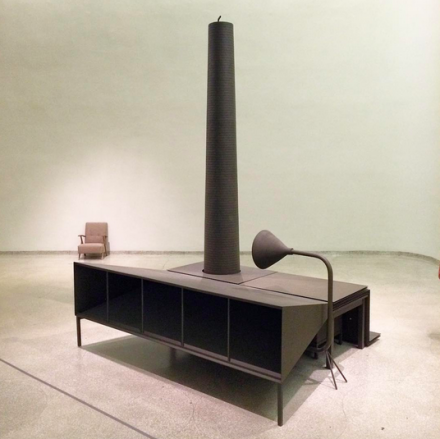 Mark Manders, Room with Reduced Chair and Camouflaged Factory (2003) , via Art Observed