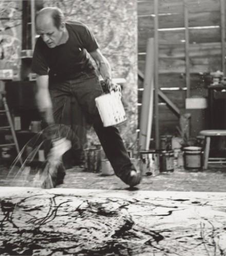 Jackson Pollock in the studio, courtesy Tate Liverpool