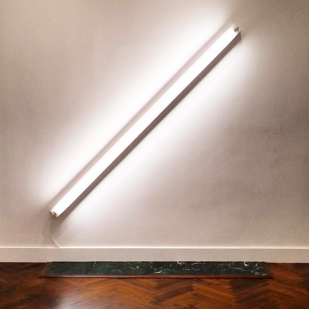 Dan Flavin, the diagonal of May 25th, 1963 (1963), via Art Observed