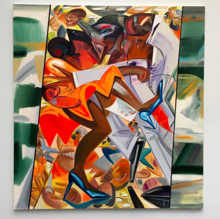 Dana Schutz, Fight in an Elevator (2015), via Art Observed