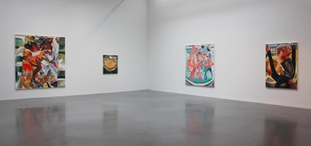 Dana Schutz, Fight in an Elevator (Installation View), via Petzel