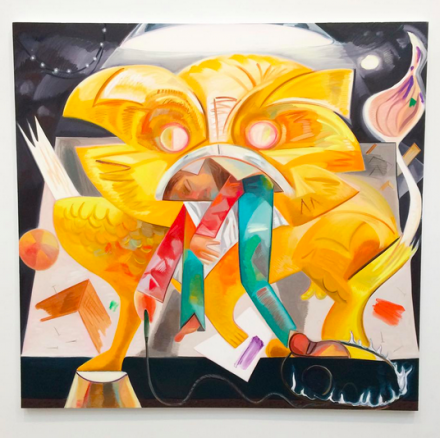 Dana Schutz, Lion Eating Its Tamer (2015), via Art Observed