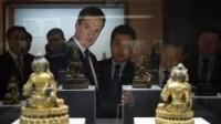 George Osborne at Beijing's National Museum, via BBC