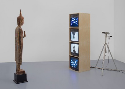 Nam June Paik, Standing Buddha with Outstretched Hand (2005), © Nam June Paik Estate, Courtesy of Gagosian Gallery