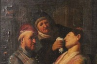 Oil on Board, Triple Portrait with Lady Fainting, via Art Newspaper