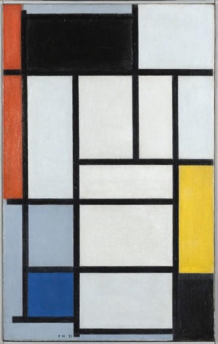"""Piet Mondrian, """"Komposition mit rot, schwarz, gelb, blau und grau,"""" 1921, photo courtesy Martin Gropius Bau © Gemeentemuseum Den Haag, Nie-derlande"""