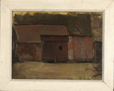 Piet Mondrian, Scheunentüren eines Brabanter Bauern-hofgebäudes (1904) photo courtesy Martin Gropius Bau © Gemeentemuseum Den Haag, Nie-derlande