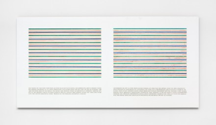 Douglas Huebler, Only during the time when these words are being read each pair of green lines represented above is inwardly extensive (1978), © 2015 Estate of Douglas Huebler / Artists Rights Society (ARS), New York. Courtesy Paula Cooper Gallery, New York Photo: Steven Probert