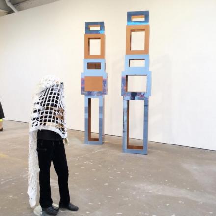 Isa Genzken, Schauspeler II, 5 (2014) and Untitled (2015), via Art Observed