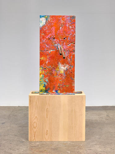 Mark Grotjahn, Untitled (Orange over Mountain Walk, Italian Mask M30.g) (2014), via Anton Kern