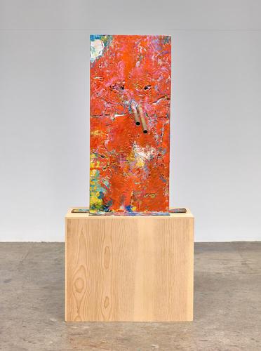 Mark Grotjahn, Untitled (Orange over Mountain Walk, Italian Mask M30.g) (2014), via Anton Kern