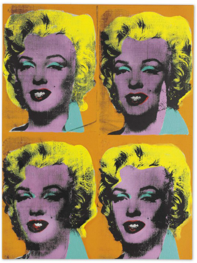 Andy Warhol, Four Marilyns (1962), via Christie's