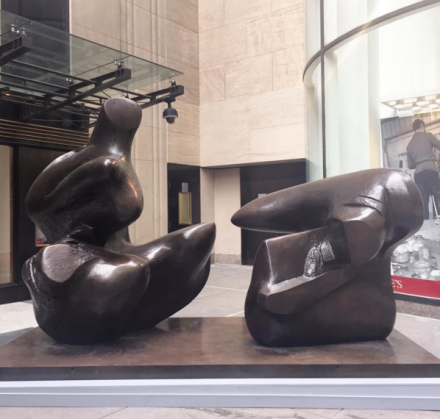 Henry Moore, Two Piece Reclining Figure  Points (1973), via Rae Wang for Art Observed