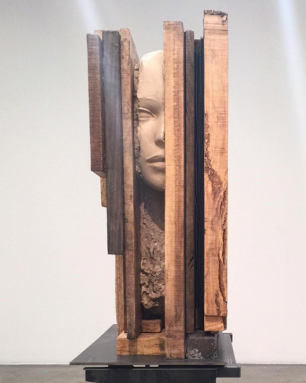 Mark Manders, Unfired Clay Head (2015), via Rae Wang for Art Observed