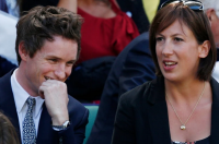 Miranda Hart with actor Eddie Redmayne, via Guardian