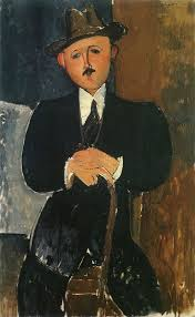 Modigliani's Seated Man With a Cane, 1918, via Art News