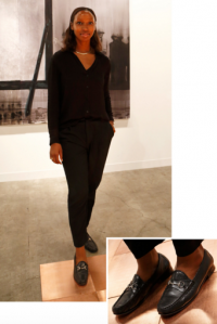 Gallerist Ashley Stewart of Salon 94 with her Gucci Loafers, via NYT