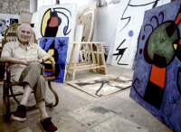 Joan Miro in studio, via Observer