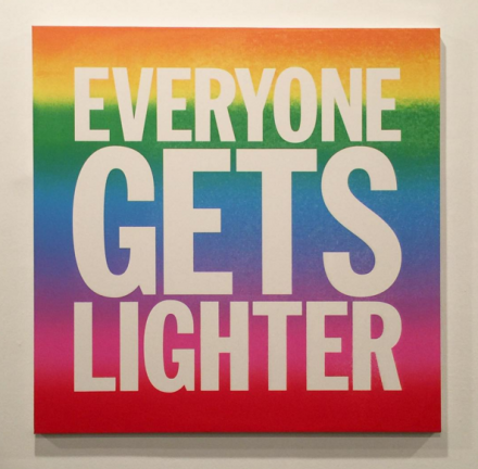John Giorno, EVERYONE GETS LIGHTER (2015), via Rae Wang for Art Observed