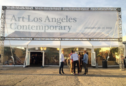 Outside of Art Los Angeles Contemporary at Barker Hangar, via Art Observed