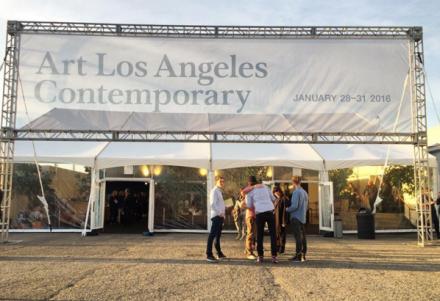 Outside of Art Los Angeles Contemporary at Barker Hangar, via Art Observed