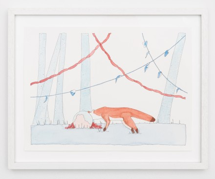Dana Sherwood, Fox with Cake and Sausage (2014), courtesy the artist and Denny Gallery