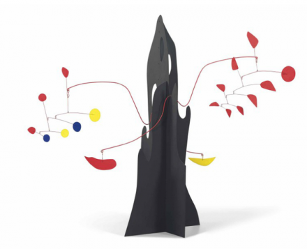 Alexander Calder, Crag with Yellow Boomerang and Red Eggplant (1974), via Christie's