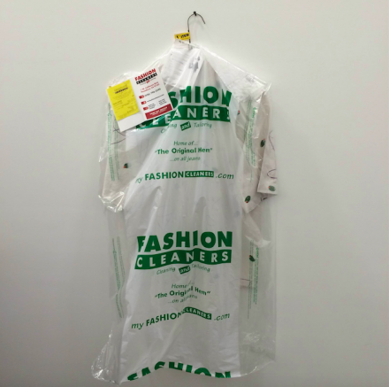 "Calvin Marcus, Martini Shirt (Fashion Cleaners ""Cleaning and Tailoring"") (2015), via Art Observed"