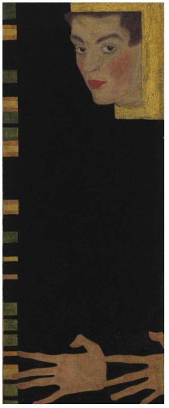 Egon Schiele, Selbstbildnis mit gespreizten Fingern (1909), via Christie's
