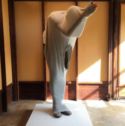 Erwin Wurm, One Minute Sculptures (Installation View), via Art Observed