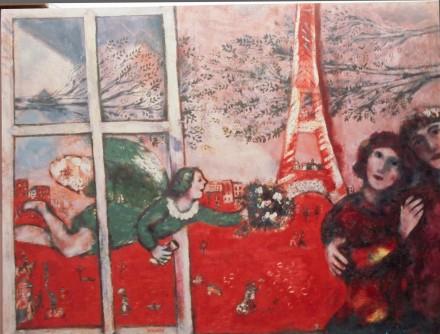 Marc Chagall, Les mariés de la Tour Eiffel (1928), via Christie's