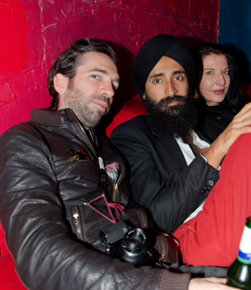 Marina Abramović, Waris Ahluwalia, and friend in the back of Paris Paris. Photo by Art Observed